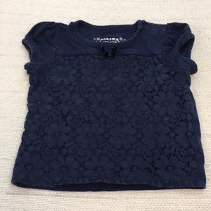 Sonoma baby girl navy lace short sleeve blouse